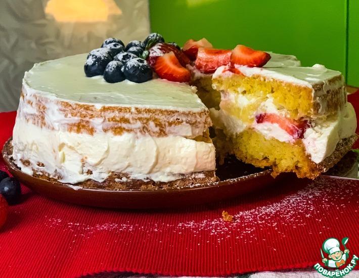 Рецепт: Бисквитный торт с творожным кремом