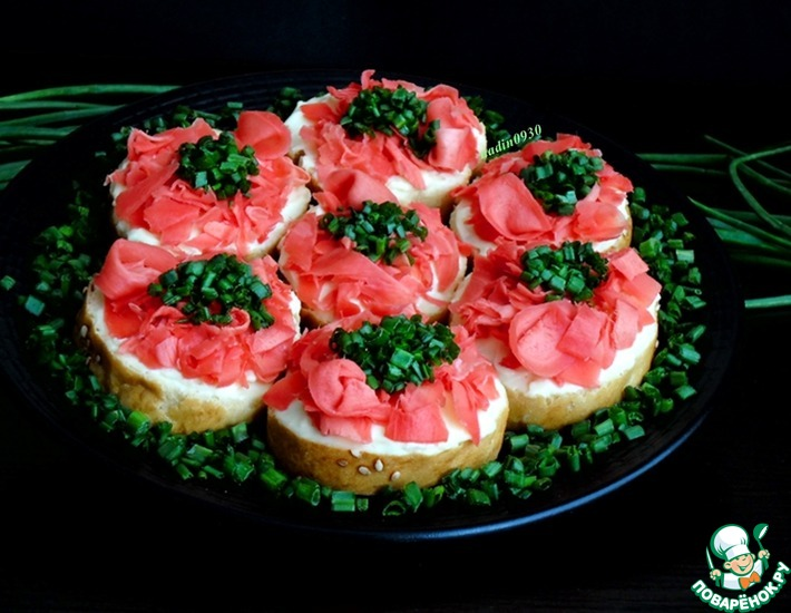 Рецепт: Бутерброды с имбирем Розовый фламинго