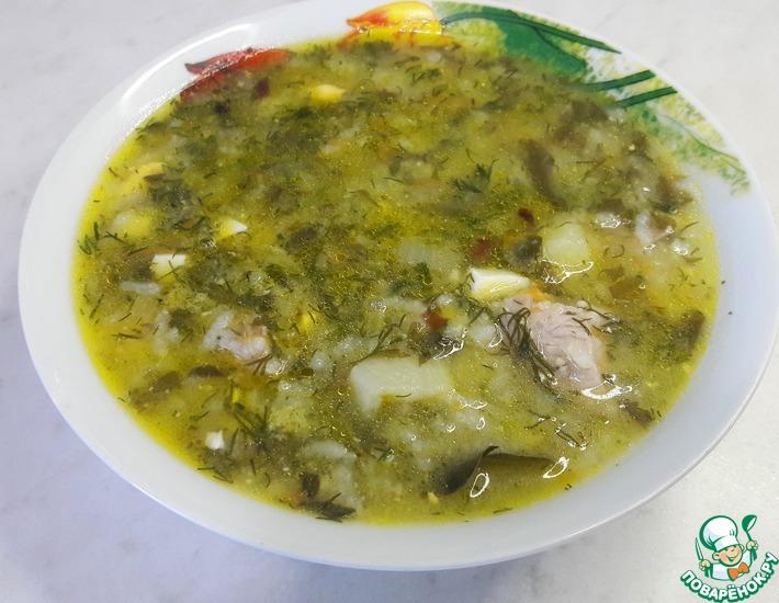 Рецепт: Зеленый борщ с щавелем, яйцами и рисом