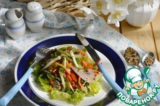 Рецепт: Салат из печени и корейской моркови