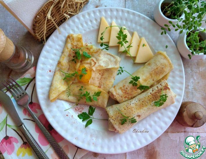 Рецепт: Овсяноблин с глазуньей на завтрак
