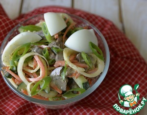 Салат из куриной печени и маринованного лука Яйцо куриное