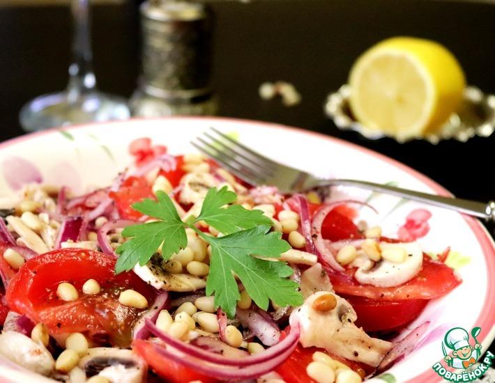 Рецепт: Салат со свежими шампиньонами и помидорами