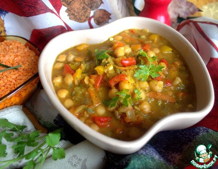 Рецепт: Суп с нутом и чечевицей
