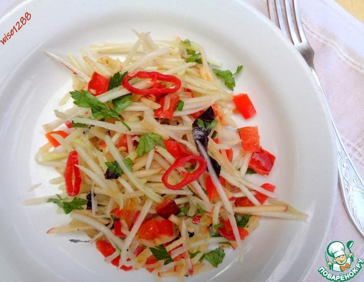 Рецепт: Салат с кольраби и жареным перцем