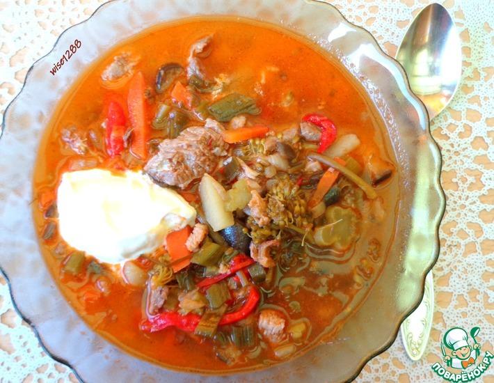Рецепт: Суп с баклажаном и брокколи