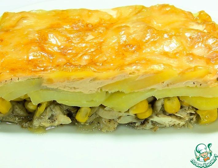 Рецепт: Запеканка из индейки с овощами в духовке