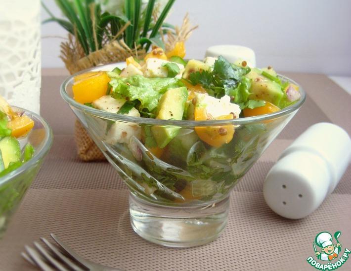 Рецепт: Салат с авокадо и адыгейским сыром