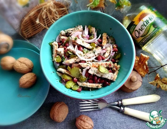 Рецепт: Салат со свининой-гриль и фасолью