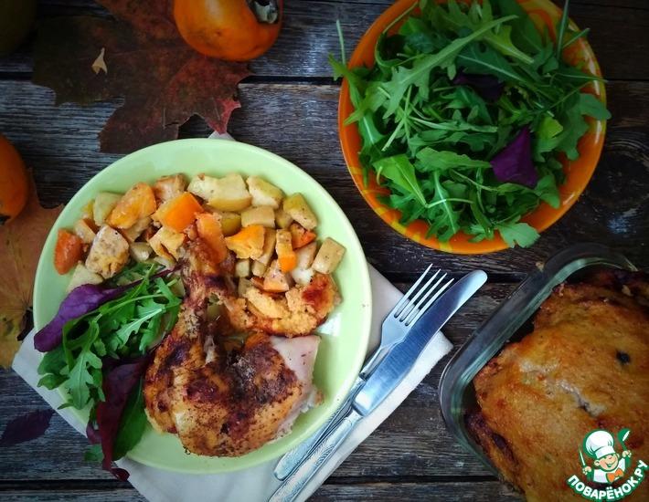 Рецепт: Курица, фаршированная хурмой и яблоком
