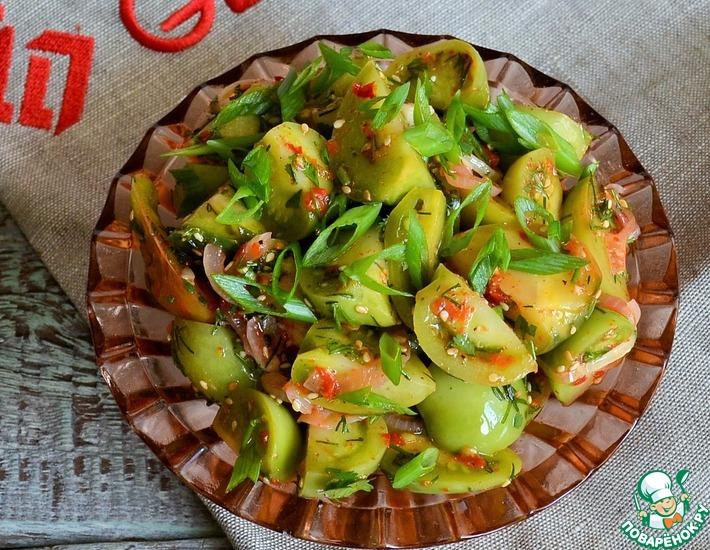 Рецепт: Острые зелёные помидоры