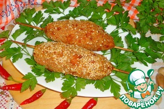 Рецепт: Люля-кебаб из индейки с кунжутом