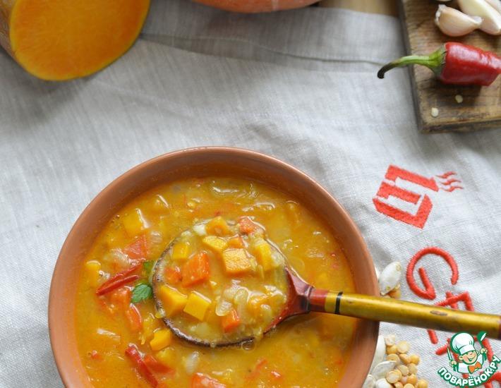 Рецепт: Острый гороховый суп с тыквой