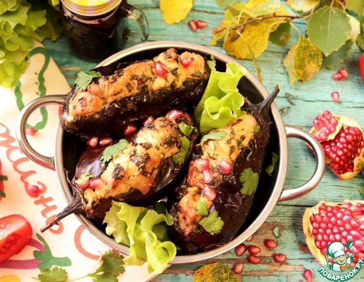 Рецепт: Шашлык из индейки в баклажане