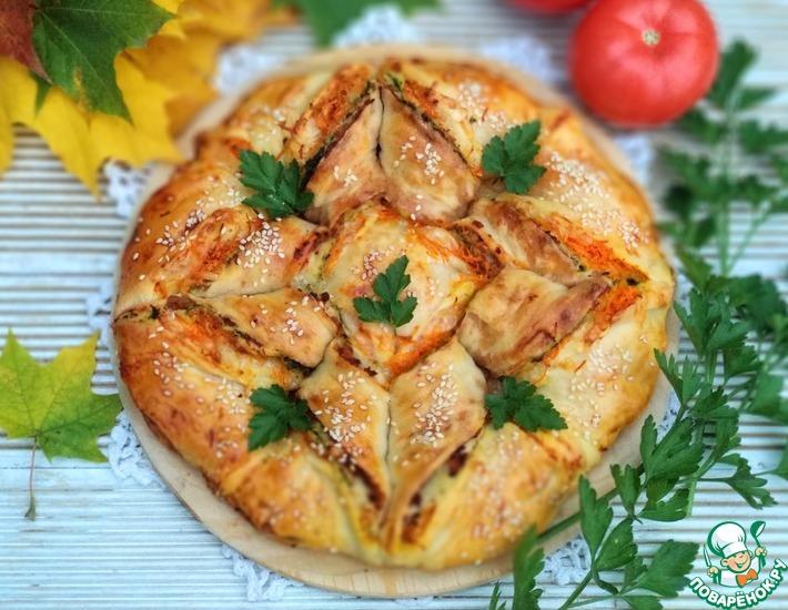 Рецепт: Пирог-пицца с тремя начинками