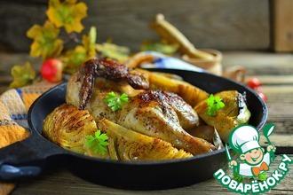 Рецепт: Курица, запеченная с кочаном капусты