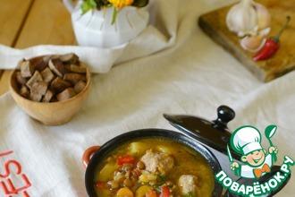 Рецепт: Итальянский суп с чечевицей, овощами и фрикадельками