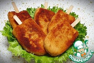 Рецепт: Куриные котлеты Эскимо на палочке