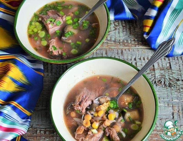 Рецепт: Мясной суп с баклажанами и нутом