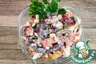 Рецепт: Салат с крабовыми палочками и фасолью