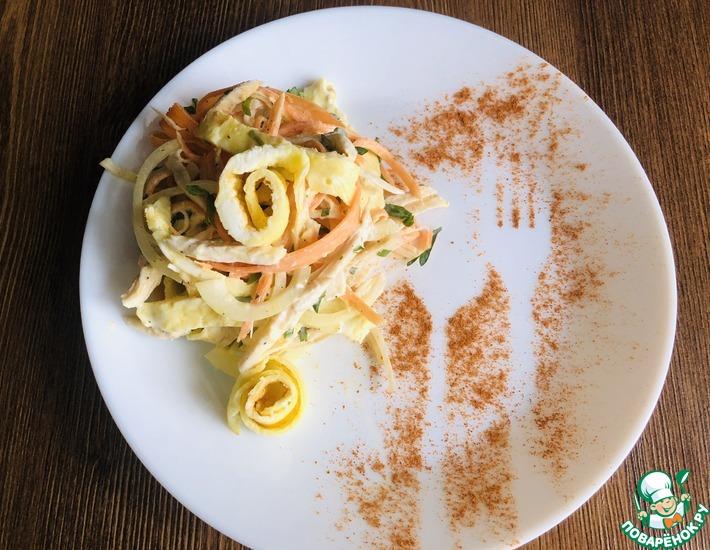 Рецепт: Салат с курицей и яичными блинчиками