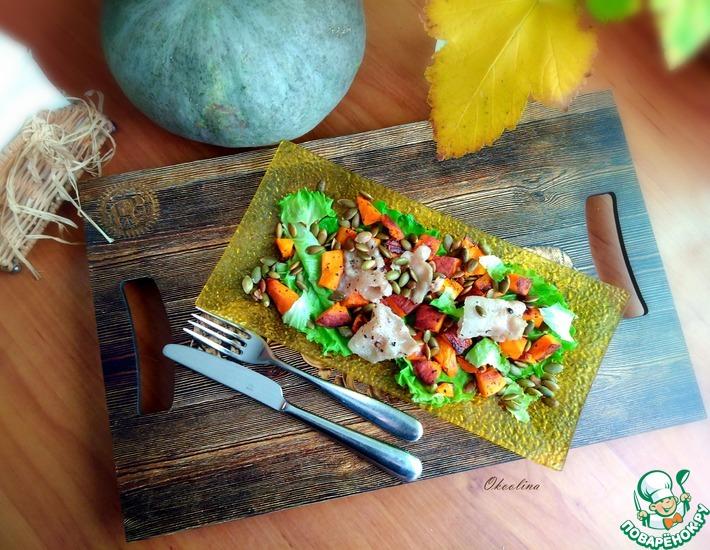 Рецепт: Салат из печёной тыквы с беконом