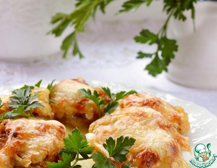 Рецепт: Шампиньоны с курицей и ананасами