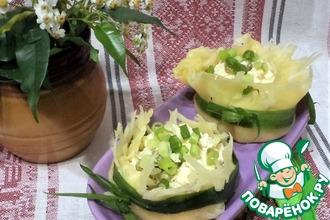 Рецепт: Сырные корзиночки с салатом из индейки