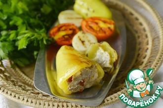 Рецепт: Перец, фаршированный индейкой, запечённый в фольге