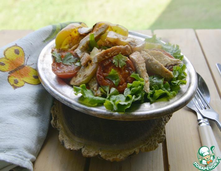 Рецепт: Салат из индейки и овощей-гриль Пикник