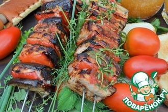 Рецепт: Шашлык из индейки и овощей