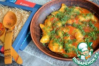 Рецепт: Вареники с картофелем в овощном соусе