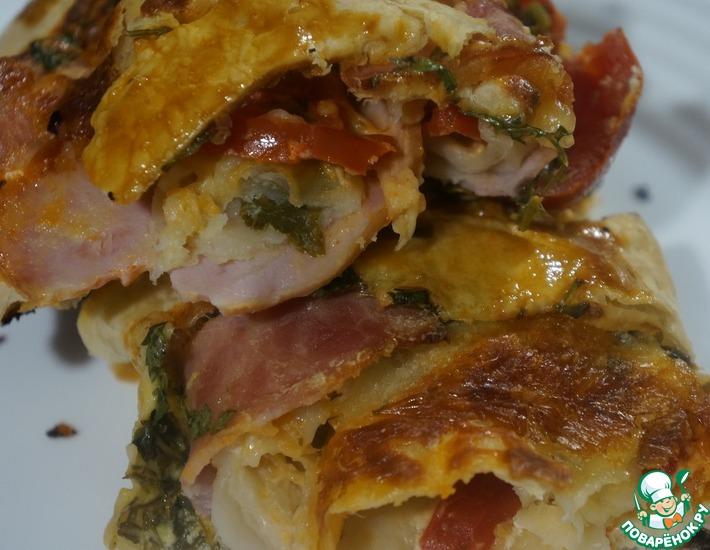 Рецепт: Горячая закуска с ветчиной и сыром