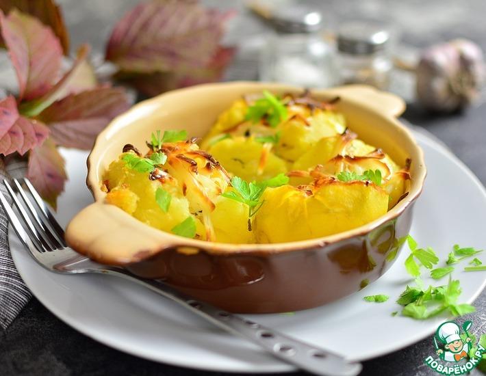 Рецепт: Разломленный пряный картофель с жареным сыром
