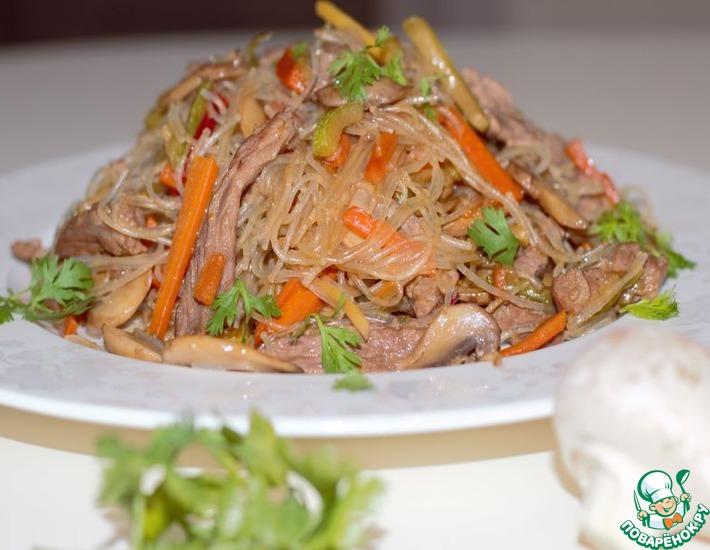 Рецепт: Фунчоза с мясом и кабачком