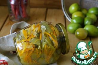 Рецепт: Острый салат из зелёных помидоров