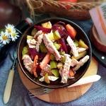 Салат с индейкой и запечёнными овощами