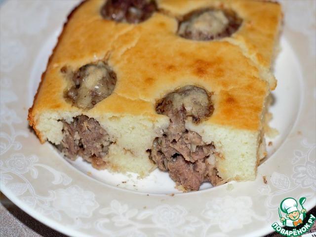 Заливной пирог с фрикадельками