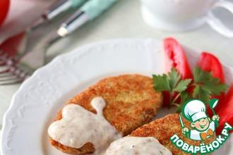 Рецепт: Котлеты картофельно-гречневые под грибным соусом