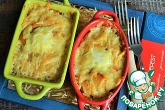 Рецепт: Картофельная запеканка с фаршем и грибами