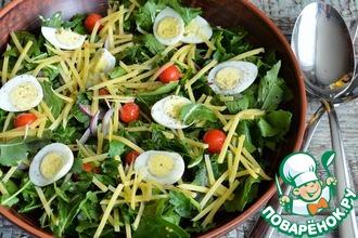 Рецепт: Салат из рукколы, яиц и сыра