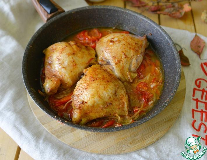 Рецепт: Куриные бёдра, запечённые в соусе Лечо