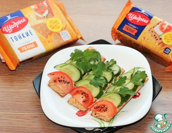 Рецепт: Сырная намазка с хрустящими хлебцами