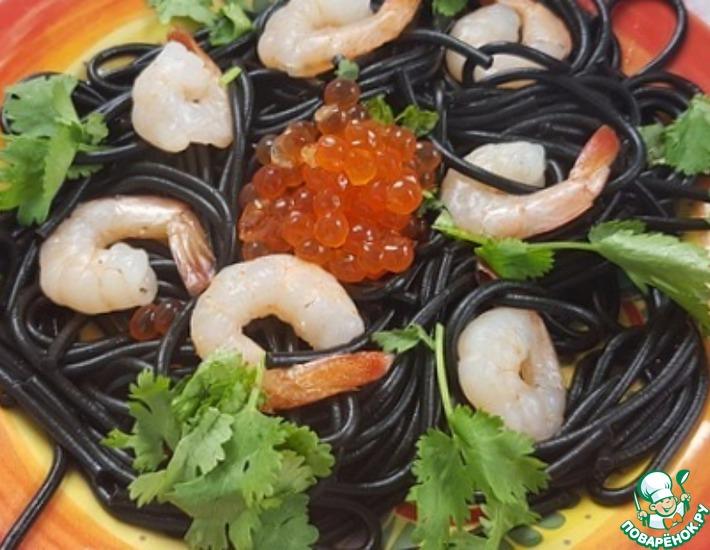Макароны с креветками под сливочным соусом