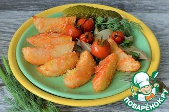 Рецепт: Запеченный картофель в пшенно-рисовых хлопьях