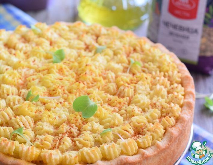 Рецепт: Постный овощной пирог с чечевицей