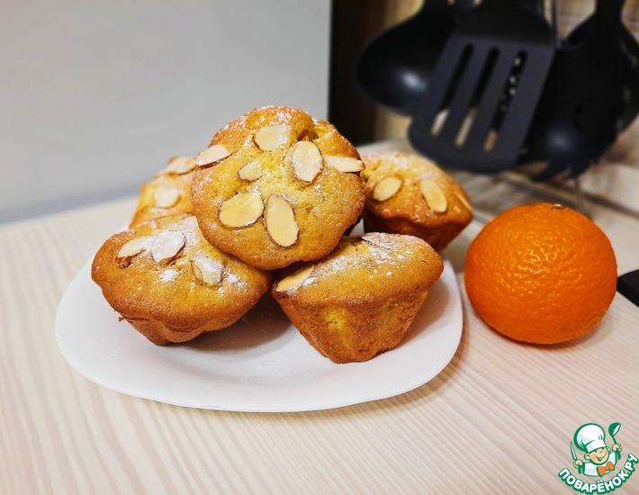 Рецепт: Ванильные маффины с мандаринами и миндалем