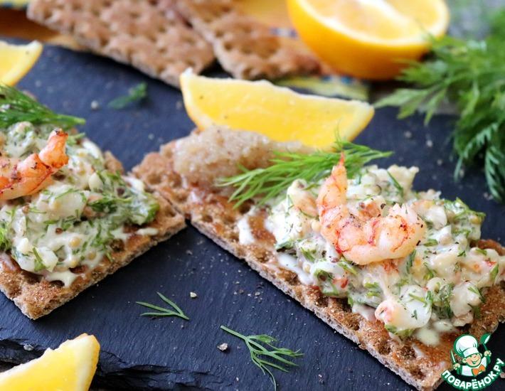 Рецепт: Тосты Скаген на гречневых хлебцах