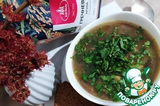 Рецепт: Постный суп с гречкой и грибами