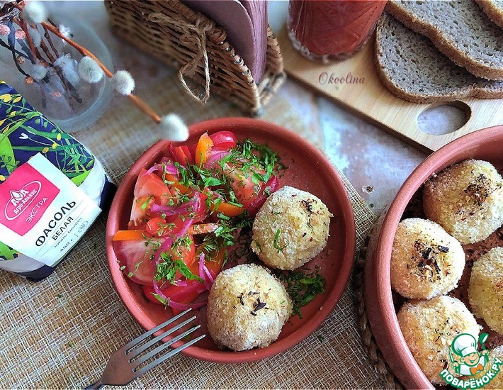Рецепт: Запечённые фасолево-картофельные колобки